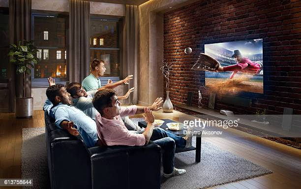 Students watching very realistic Baseball game on TV