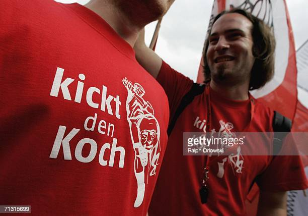 Students wearing Tshirts that read 'kickt den Koch' 'kick Koch' the German minister of the state of Hesse protest against the implementation of...