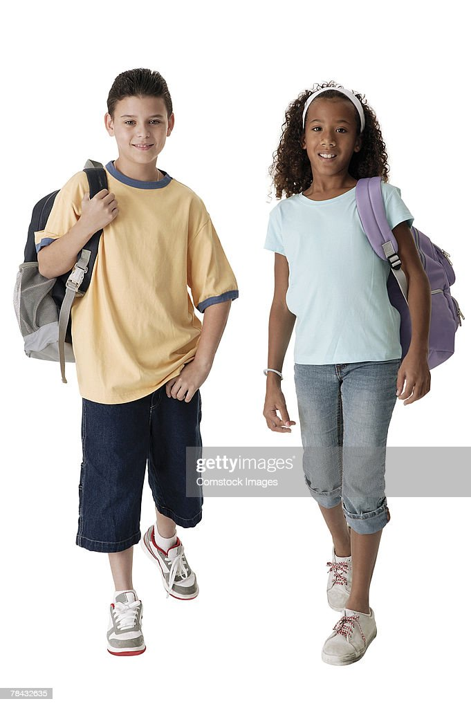 Students with backpacks : Stockfoto