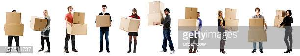 Students with boxes, moving in