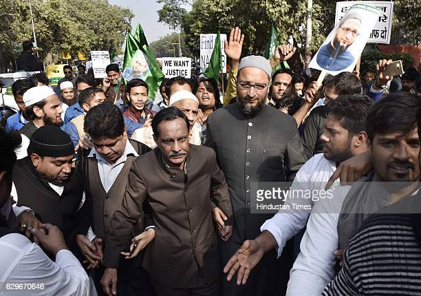 JNU students with people from different organisations and Member of Parliament Asaduddin Owaisi during a protest march and dharna against Delhi...