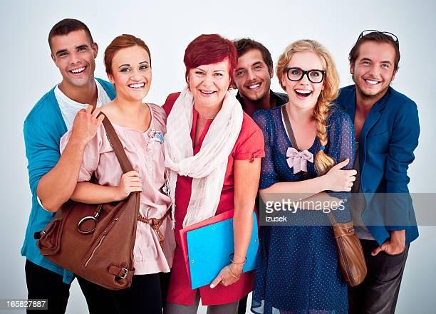Estudiantes con el maestro