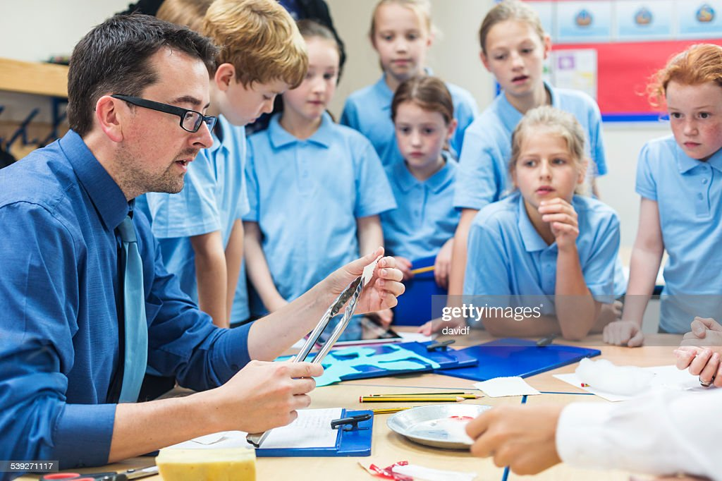 Students With Their Teacher in Science Class : Stock Photo