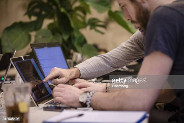 Students work at laptops at Le Wagon coding boot camp in Paris France on Monday Jan 22 2018 Boris Paillard who once developed equity and rates models...