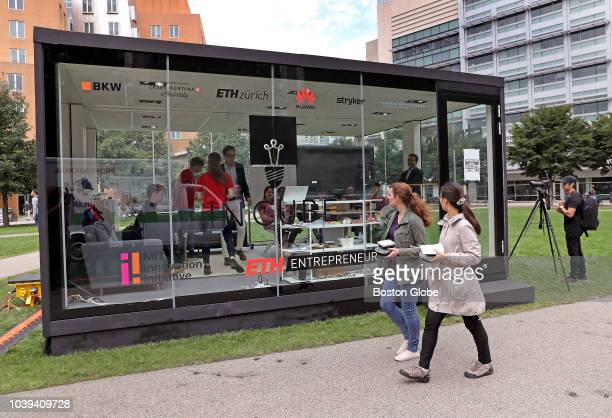 Students work inside of a 16by16foot transparent glass cube on the Massachusetts Institute of Technology campus in Cambridge MA on Sep 20 2018 Five...