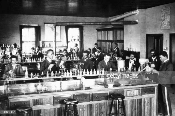 Students working in the laboratory at the Tuskegee Institute in Alabama Founded for black students in 1881 it was run by Booker T Washington until...