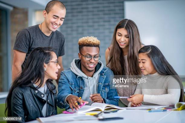 students working together enthusiastically - college student stock pictures, royalty-free photos & images