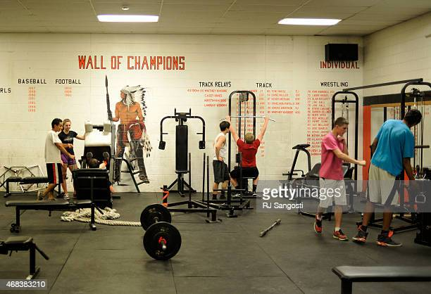 Students workout in the weight room at Lamar High School March 31 2015 A bill going through the Colorado Legislature that would require panel...