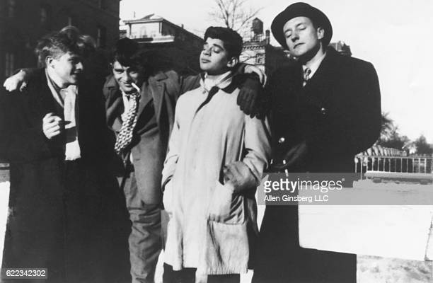 Students writers and friends Hal Chase Jack Kerouac Allen Ginsberg and William S Burroughs enjoy each other's company in Morningside Heights near the...