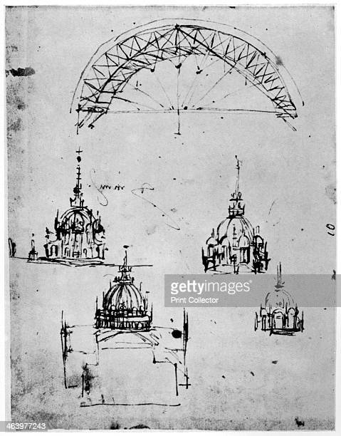 Studies for the central cupola of Milan cathedral late 15th century Found in the Codex Atlanticus A print from Leonardo da Vinci by Ludwig H...