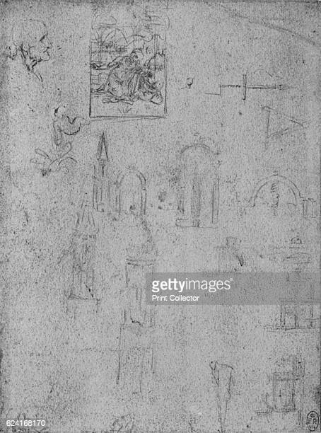 Studies of Architecture and of a Virgin Adoring the Infant Christ' c1480 From The Drawings of Leonardo da Vinci [Reynal Hitchcock New York 1945]...