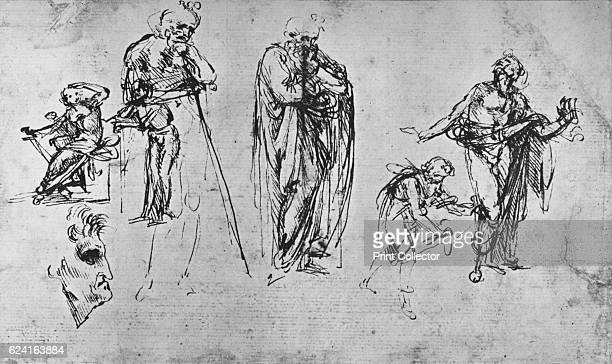 Studies of Single Figures and of a Profile' c1480 The drawing is held by the British Museum London From The Drawings of Leonardo da Vinci [Reynal...