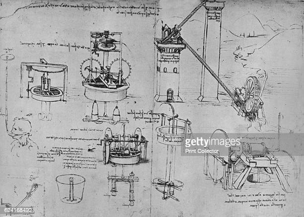 Studies of Suction Pumps Archimedes Tubes Etc' c1480 From The Drawings of Leonardo da Vinci [Reynal Hitchcock New York 1945] Artist Leonardo da Vinci