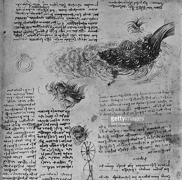 Studies of the Formation of Water in Motion' c1480 From The Drawings of Leonardo da Vinci [Reynal Hitchcock New York 1945] Artist Leonardo da Vinci