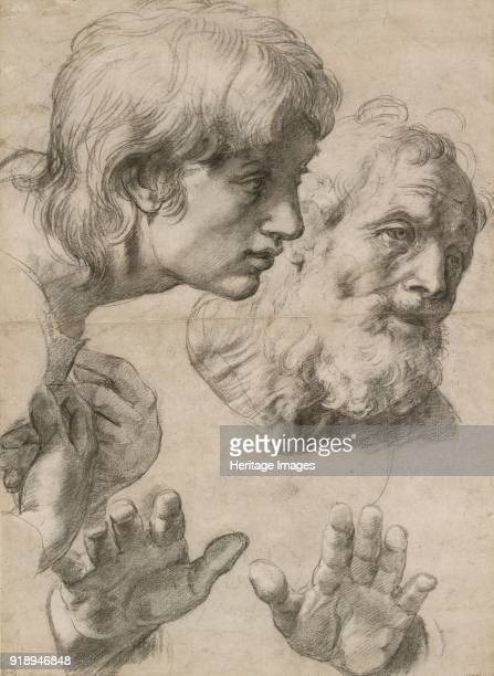 Studies of the Heads of two Apostles and of their Hands Study for 'The Transfiguration' Dimensions height x width sheet 499 x 364 cm