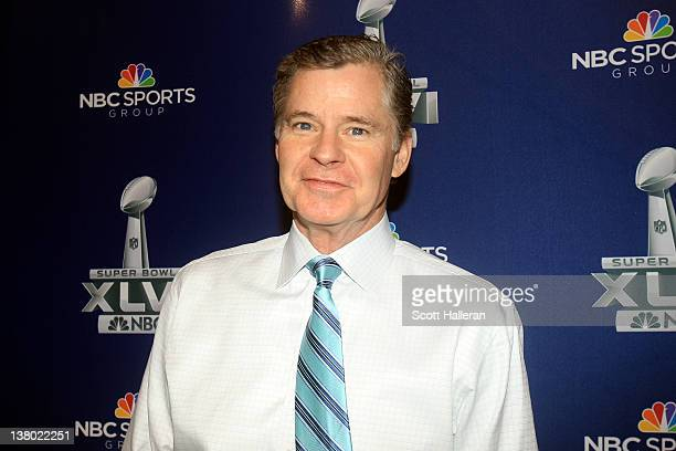 NBC studio analyst and radio host Dan Patrick looks on during the Super Bowl XLVI Broadcasters Press Conference at the Super Bowl XLVI Media Canter...