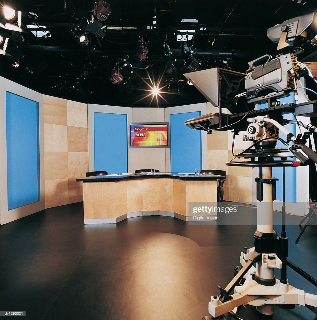 TV Studio and a TV Camera : Stock Photo