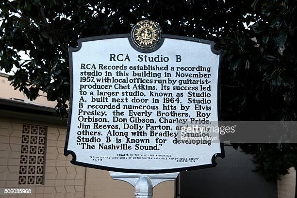 RCA Studio B historic marker on January 1 2016 in Nashville Tennessee