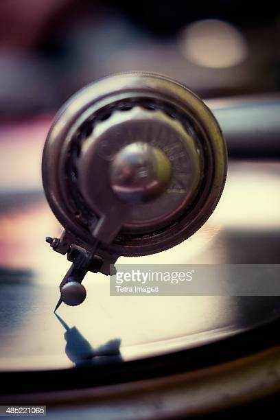 Studio close-up of record player