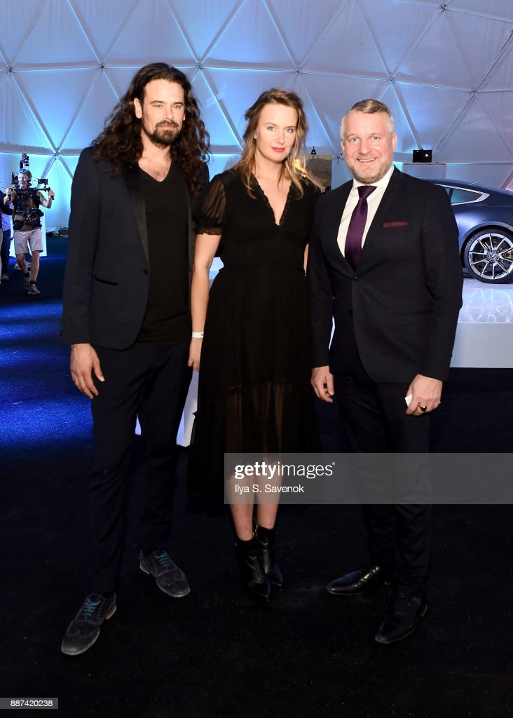 Studio Drift artists Ralph Nauta and Lonneke Gordijn, and Head of BMW Group Cultural Engagement Thomas Girst attend the World Premiere Of FRANCHISE FREEDOM - A Flying Sculpture By Studio Drift In Partnership With BMW at The Faena Art Dome on December 6, 2017 in Miami, Florida.