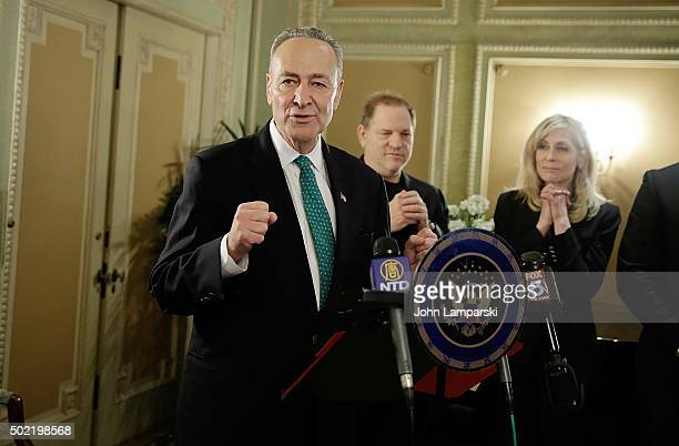 Studio Executive Harvey Weinstein and Judith Light attend as US Senator Charles E Schumer commemorates last week's change in federal tax law benefits...