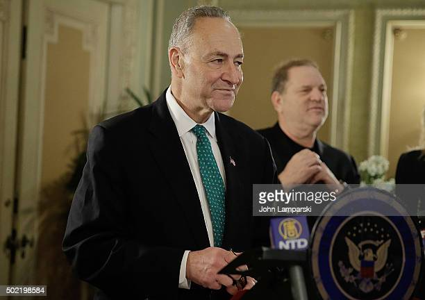 Studio Executive Harvey Weinstein attends as US Senator Charles E Schumer commemorates last week's change in federal tax law benefits with Broadway...