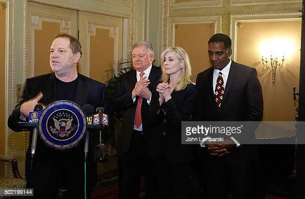 Studio executive Harvey Weinstein Chairman of the Broadway League Robert E Wankel Judith Light and Norm Lewis attend as US Senator Charles E Schumer...