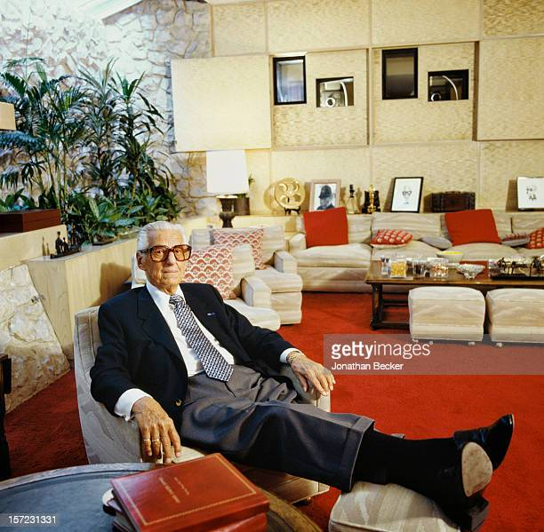 Studio executive Lew Wasserman is photographed for Vanity Fair Magazine on November 2 1995 at home in his private screening room in Beverly Hills...