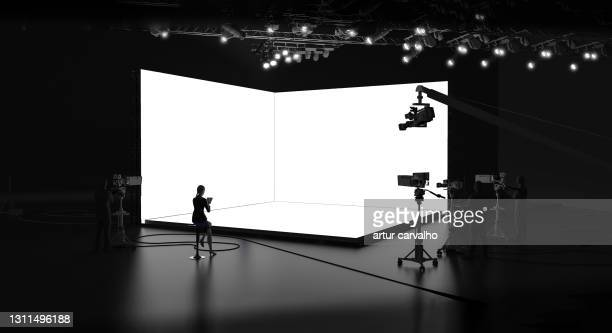 studio for broadcasting presentations template, corporate live web events, 3d render - live event stock pictures, royalty-free photos & images
