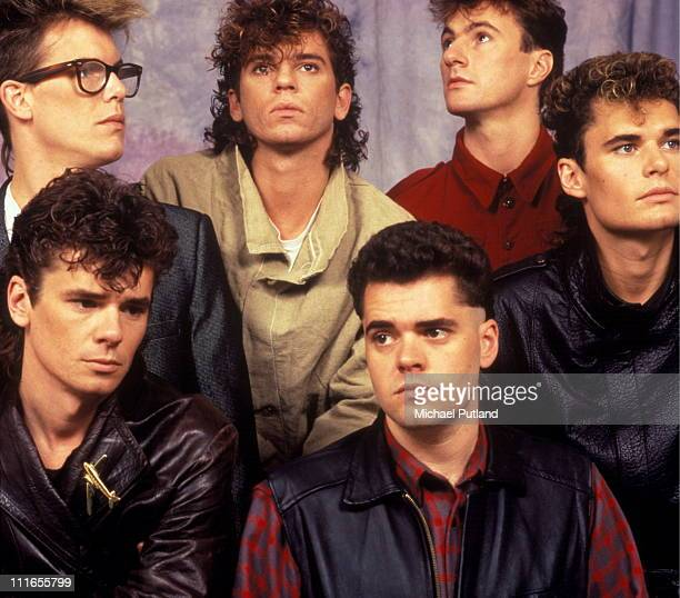 INXS studio group portrait circa 1983 London LR Kirk Pengilly Michael Hutchence Jon Farriss Garry Gary