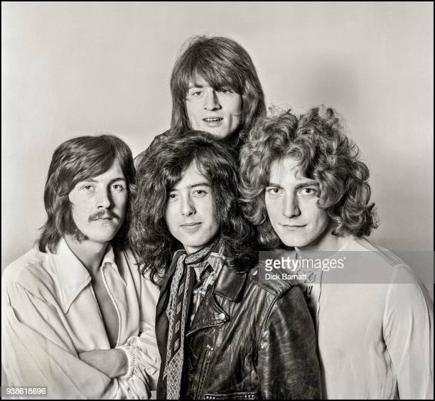 Studio group portrait of Led Zeppelin, London, December 1968. Clockwise from left: John Bonham, John Paul Jones, Robert Plant, Jimmy Page. It was the...