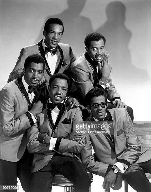 Studio group shot of the Temptations, Paul Williams, Melvin Franklin, Eddie Kendricks, Dennis Edwards, Otis Williams.