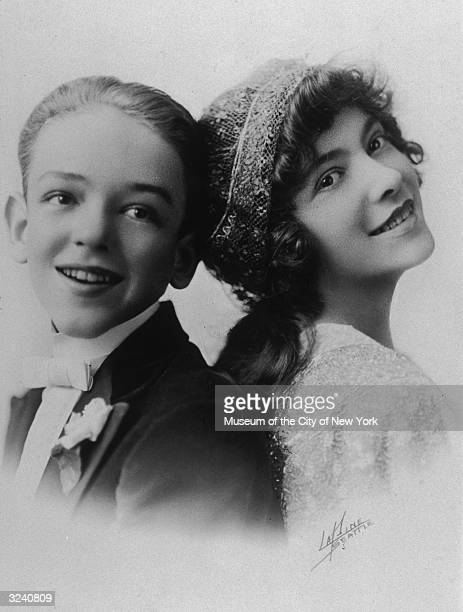 Studio headshot portrait of American dancing and singing partners Fred and Adele Astaire as children
