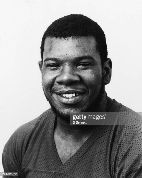 Studio headshot portrait of American professional football player Roy Simmons, offensive lineman for the New York Giants, 1980.