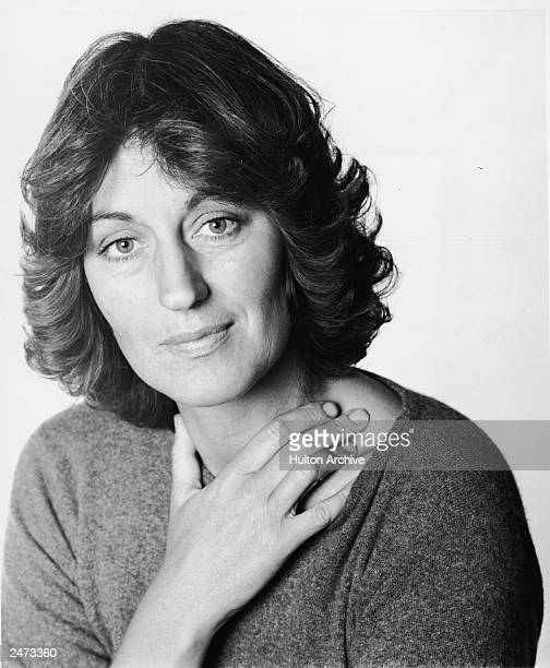 Studio headshot portrait of British feminist author and educator Germaine Greer, 1979.