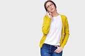 studio horizontal image pretty woman eyeglasses