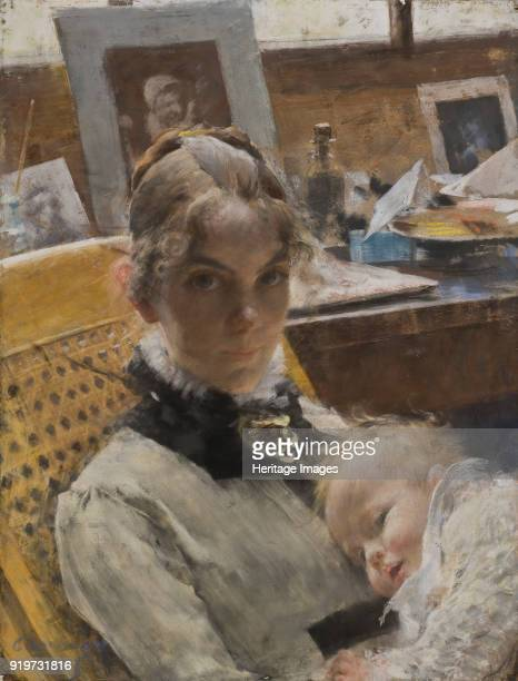 Studio Idyll The Artist's Wife and their Daughter 1885 Found in the Collection of Nationalmuseum Stockholm