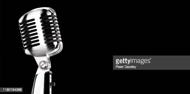 studio microphone with copy space - microphone stock pictures, royalty-free photos & images