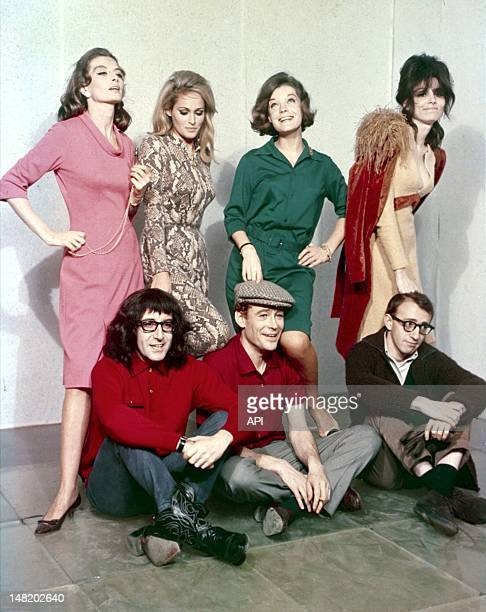 Studio photo of actors Romy Schneider Peter O'Toole Ursula Andress Peter Selers Paula Prentiss and Woody Allen for the film What's New Pussycat by...
