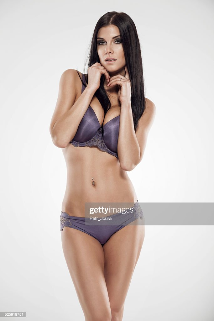 ee7fe6406 Studio Photo Of Posing Sexy Woman With Nice Lingerie Stock Photo ...