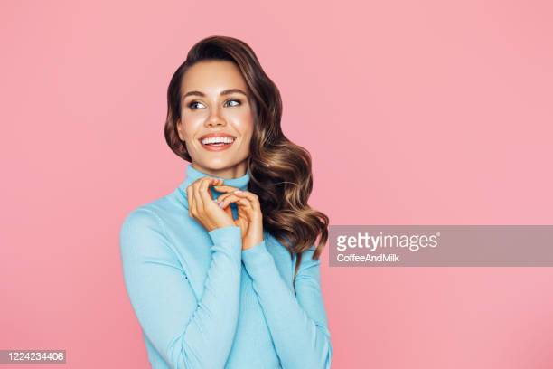 studio portrait of a beautiful girl - straight hair stock pictures, royalty-free photos & images