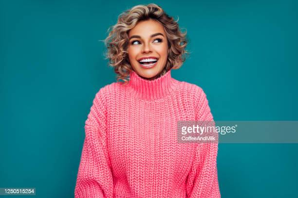 studio portrait of a beautiful girl - toothy smile stock pictures, royalty-free photos & images