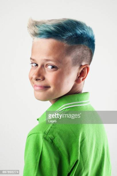 studio portrait of a boy with dyed hair - dyed hair stock pictures, royalty-free photos & images