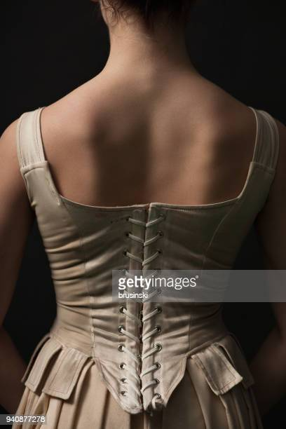 studio portrait of a close-up of a theatrical actress - corset stock pictures, royalty-free photos & images