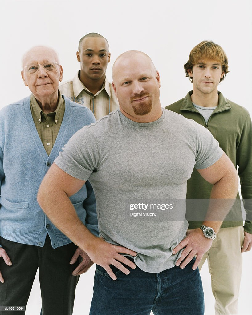 Studio Portrait of a Group of Serious Men of Mixed Ages : Stock Photo