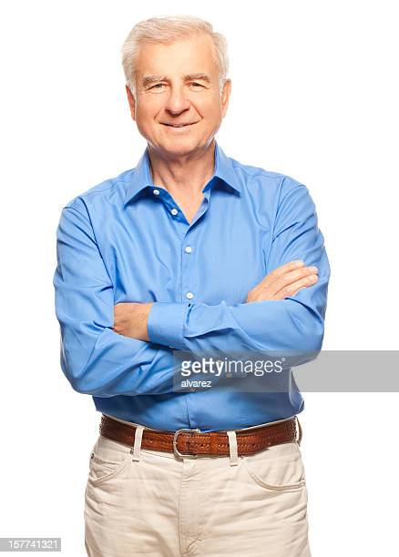 studio portrait of a senior man - waist up stock pictures, royalty-free photos & images