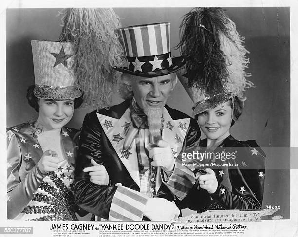 Studio portrait of actors Jeanne Cagney Walter Huston and Joan Leslie as they appear in the movie 'Yankee Doodle Dandy' 1942
