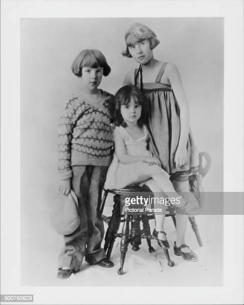 Studio portrait of actress and singer Judy Garland with her sisters Dorothy and Mary Jane Gumm as part of the 'Gumm Sisters Kiddie Act' 1926