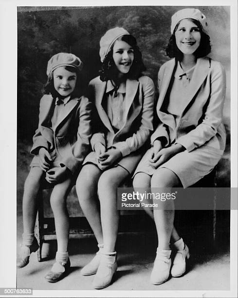 Studio portrait of actress and singer Judy Garland with her sisters Dorothy and Mary Jane Gumm as part ' The Gumm Sisters' circa 1930