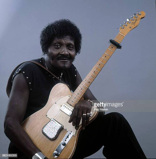 Studio portrait of American Blues musician Albert Collins as he poses with his guitar Chicago Illinois 1985 The photo was taken as part of a session...